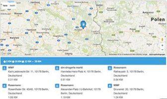 SodaStream Händler auf einer Karte